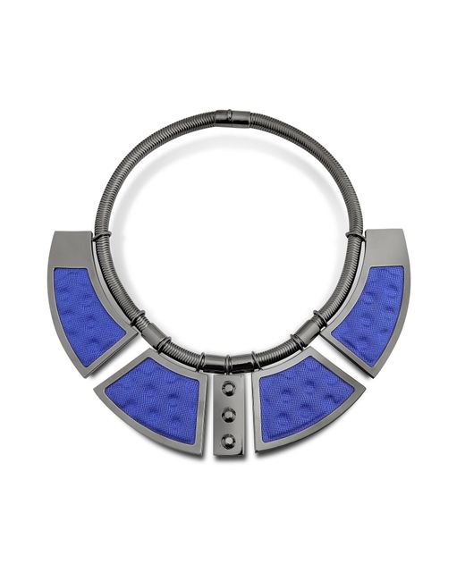 Avril 8790 - Blue Geometric Ruthenium Plated Brass And Golden Viscose Collar Necklace W/studs - Lyst