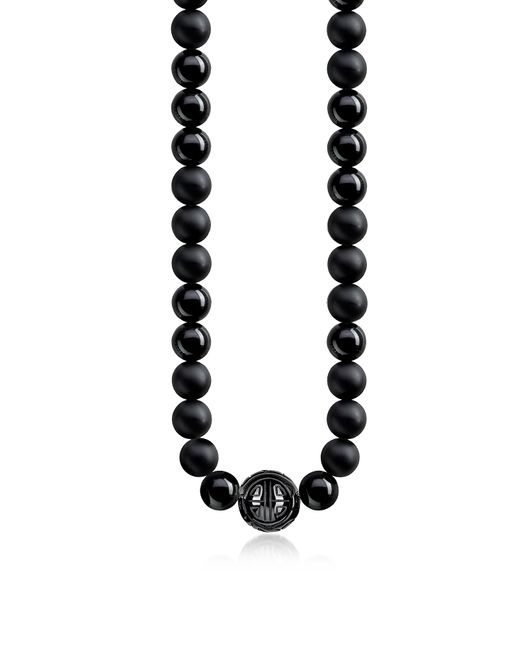 Thomas Sabo - Metallic Power Blackened Sterling Silver Men's Necklace w/Obsidian Matt and Polished Beads for Men - Lyst