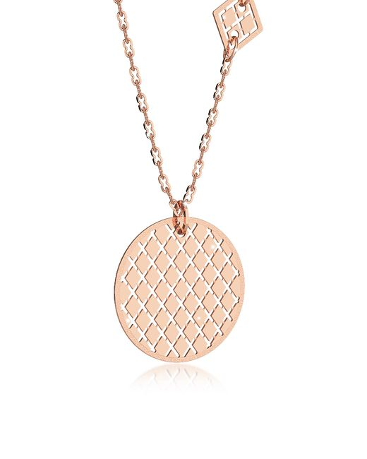 Rebecca - Pink Melrose Rose Gold Over Bronze Necklace W/geometric Charms - Lyst