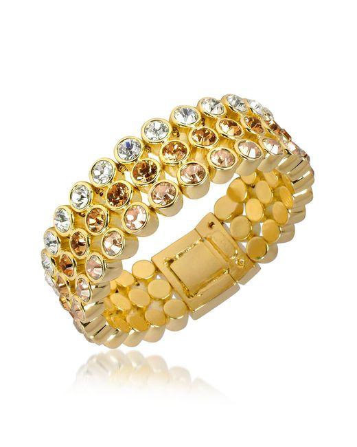 AZ Collection   Metallic Three-tone Crystal Bracelet   Lyst