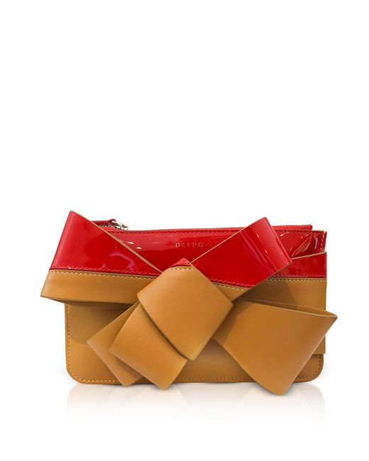 Delpozo - Red Striped Leather Mini Bow Clutch - Lyst