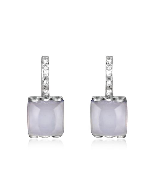 Mia & Beverly - Blue Chalcedony And Diamond 18k White Gold Earrings - Lyst