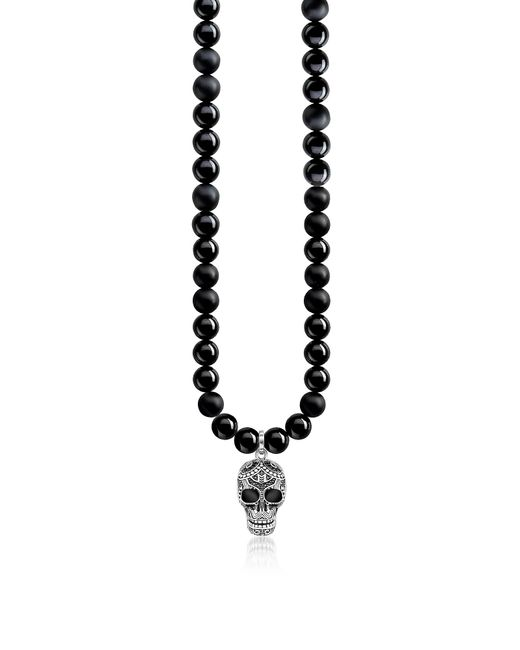 Thomas Sabo - Blackened 925 Sterling Silver & Obsidian Beads Power Necklace Maori Skull Necklace W/zirconia Pave for Men - Lyst