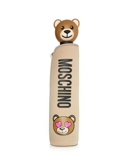 Moschino - Natural Toy In Love Dark Beige Mini Umbrella W/teddy Handle And Neoprene Pouch - Lyst