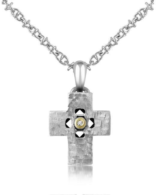 Forzieri - Metallic Diamond And Hammered Stainless Steel Cross Pendant Necklace - Lyst