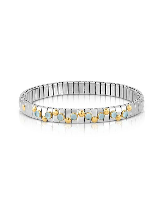 Nomination - Metallic Stainless Steel Women's Bracelet W/light Blue Topaz Beads - Lyst
