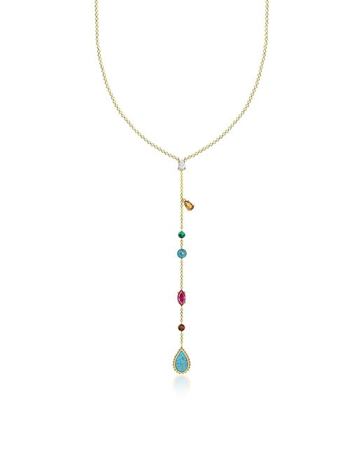 Thomas Sabo - Metallic Gold Plated Sterling Silver Riviera Colours Long Necklace W/ceramic Stones - Lyst