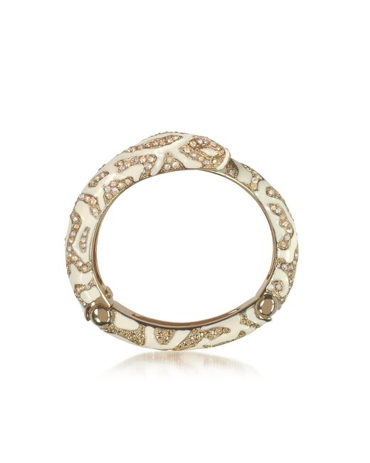 Roberto Cavalli | Metallic Golden Brass And Ivory Enamel Snake Bangle W/crystals | Lyst