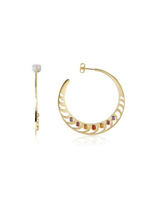 Sho London - Metallic Mari Rush Silver Vermeil Hoop Earrings - Lyst