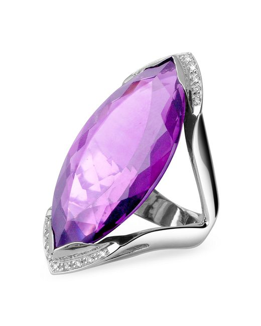 Forzieri - Purple Amethyst And Diamond White Gold Fashion Ring - Lyst