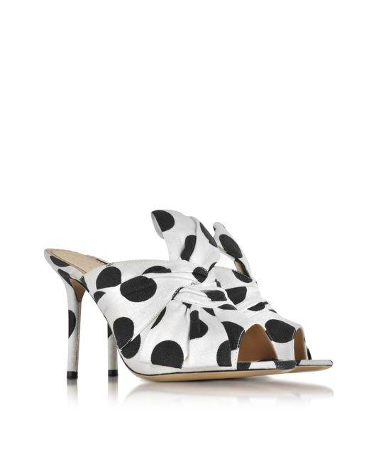 Charlotte Olympia Designer Shoes, Ilona Polka Dot Print Linen Slide