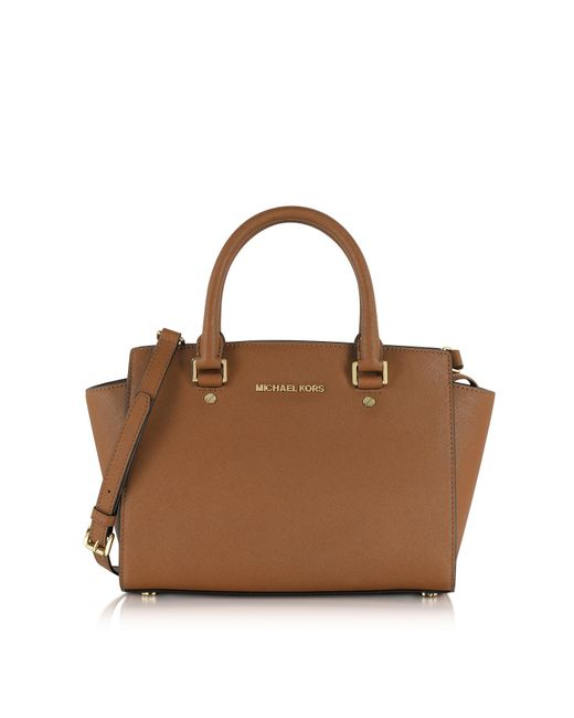 Michael Kors | Brown Selma Medium Luggage Saffiano Leather Top-zip Satchel Bag | Lyst