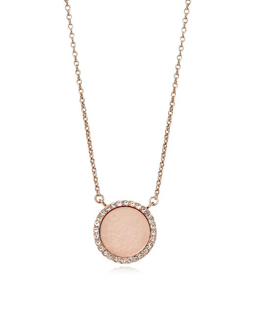 Michael Kors | Pink Heritage Rose Gold Pvd Charm Necklace | Lyst