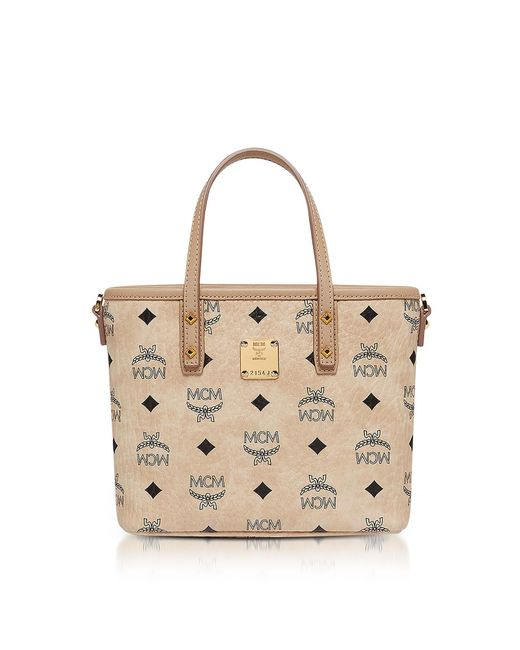 MCM - Natural Anya Beige Top Zip Mini Tote Bag - Lyst