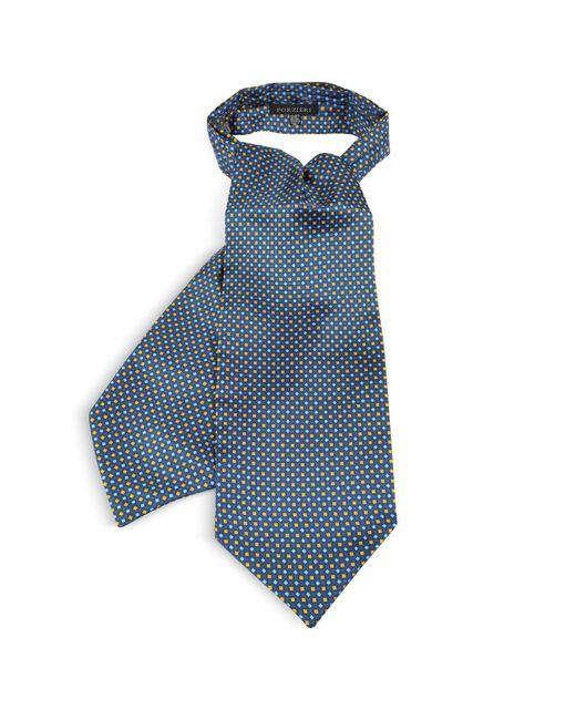 Forzieri - Yellow Two Tone Mini Squares Print Silk Tie Ascot for Men - Lyst