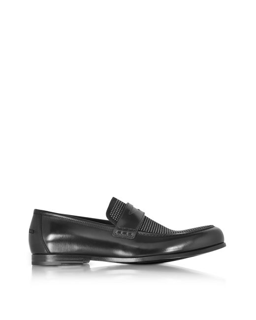 Jimmy Choo | Darblay Shiny Black Leather And Suede Loafers W/studs for Men | Lyst