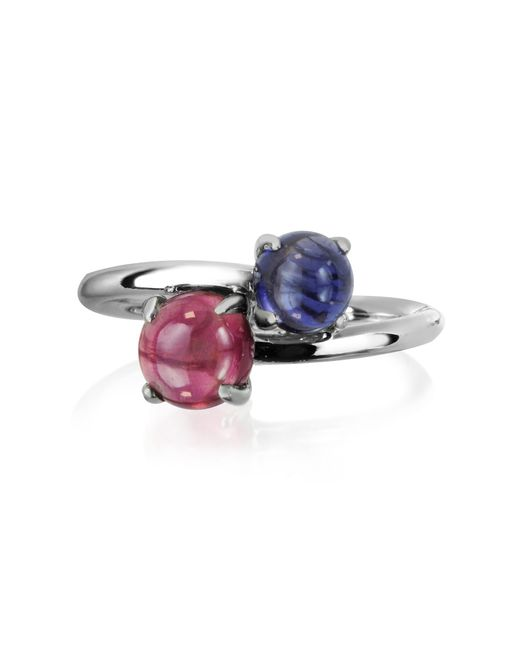 Mia & Beverly | Blue Iolite And Garnet 18k White Gold Ring | Lyst
