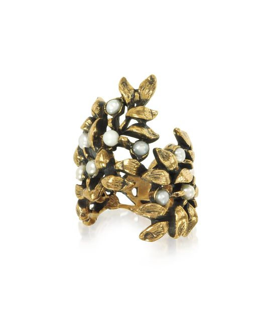 Alcozer & J - Metallic Mistletoe Brass Ring W/glass Pearl - Lyst