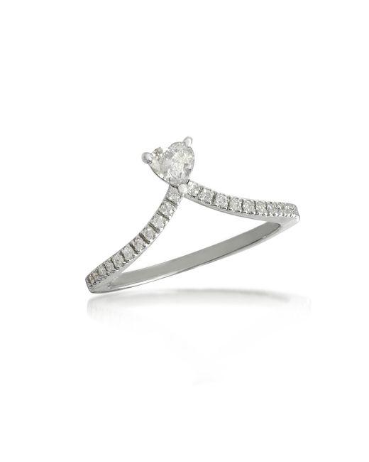 Forzieri - White Heart Diamond V-shaped Band Ring - Lyst