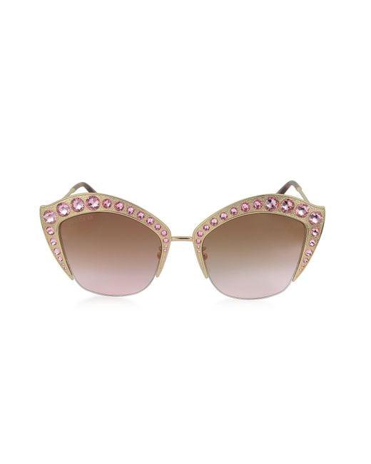 a0de12d858ccb Gucci - Brown GG0114S Metal Cat Eye Women s Sunglasses W crystals - Lyst