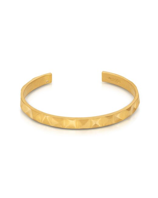 Northskull | Metallic In 'n' Out Brushed Gold Plated Brass Cuff | Lyst