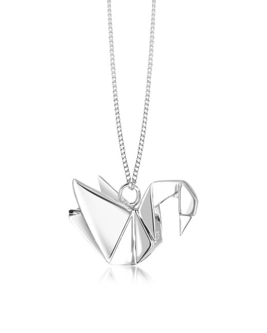 Origami Jewellery | Metallic Sterling Silver Swan Pendant Long Necklace | Lyst