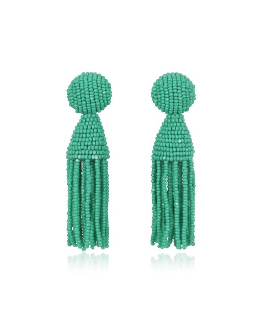 Oscar de la Renta - Green Short Beaded Clip-on Tassel Earrings - Lyst
