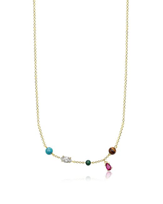 Thomas Sabo - Metallic Gold Plated Sterling Silver Riviera Colours Necklace W/ceramic Stones - Lyst