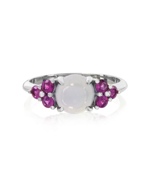 Mia & Beverly - Blue Chalcedony And Fuchsia Sapphires 18k White Gold Ring - Lyst