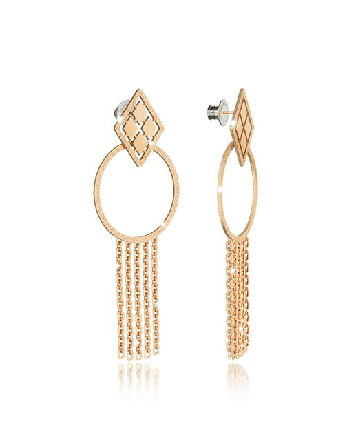 Rebecca | Melrose Yellow Gold Over Bronze Drop Hoop Earrings W/chain Fringes | Lyst