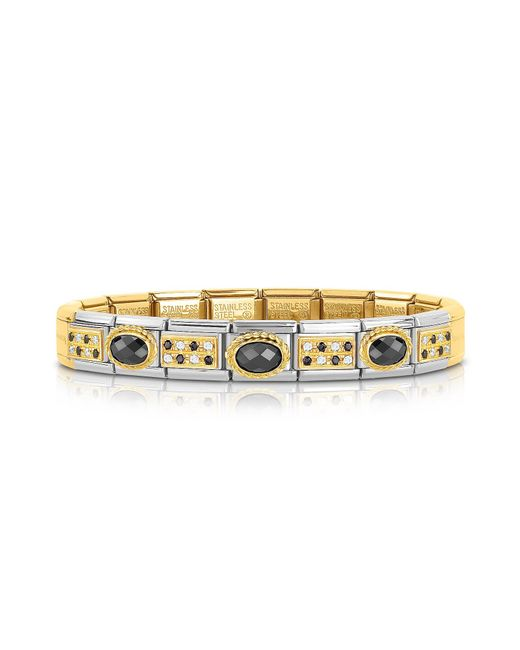 Nomination - Metallic Classic Pavés Golden Stainless Steel Bracelet W/black Stone And Cubic Zirconia - Lyst