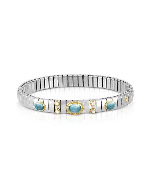 Nomination - Metallic Stainless Steel Women's Bracelet W/light Blue Topaz Oval Beads - Lyst