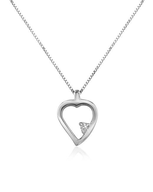 Forzieri - Metallic 0.015 Ct Diamond Heart 18k Gold Necklace - Lyst