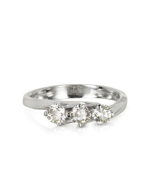 Forzieri - 0.54 Ctw Diamond 18k White Gold Trilogy Flower Ring - Lyst