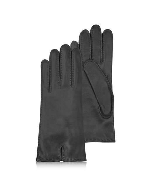Forzieri - Women's Cashmere Lined Black Italian Leather Gloves - Lyst