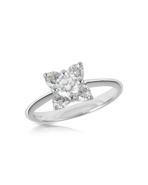 Forzieri | Diamond Flower 18k White Gold Ring | Lyst