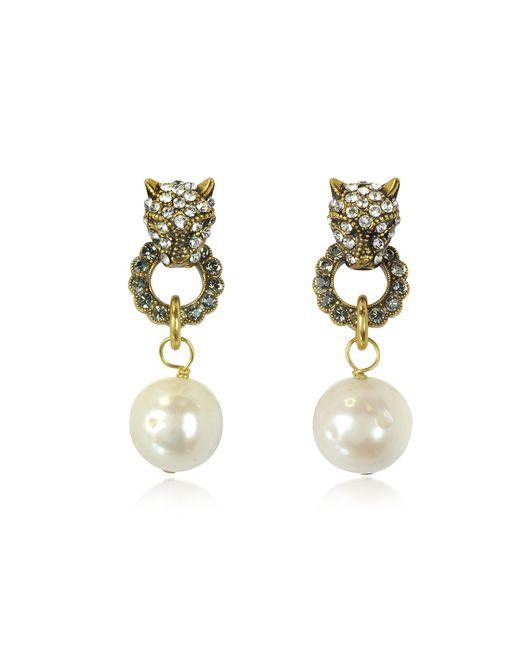 Alcozer & J   Metallic Small Panthers Goldtone Brass W/glass Pearls Drop Earrings   Lyst