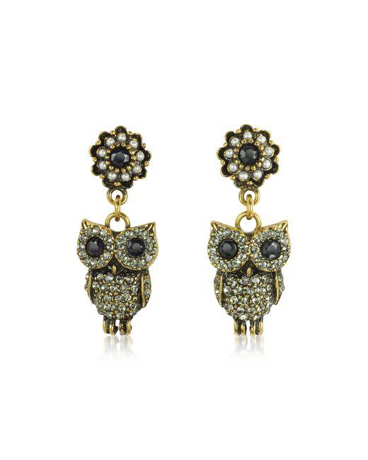 Alcozer & J | Metallic Hanging Goldtone Brass W/crystals Drop Earrings | Lyst