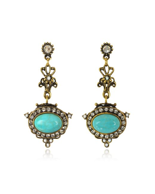 Alcozer & J | Metallic Magnesite Goldtone Brass Earrings W/crystals | Lyst