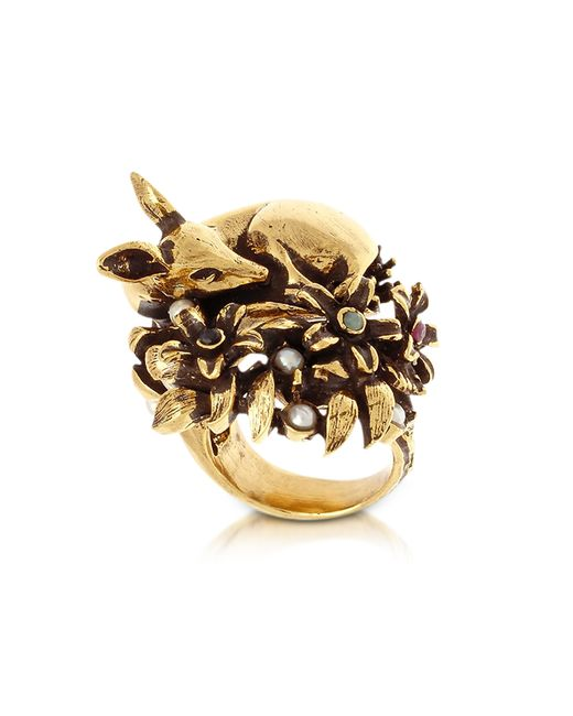 Alcozer & J | Metallic Fawn Goldtone Brass Ring W/glass Pearl | Lyst