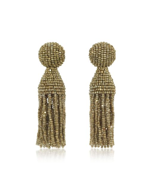 Oscar de la Renta | Metallic Classic Short Tassel Clip-on Earrings | Lyst