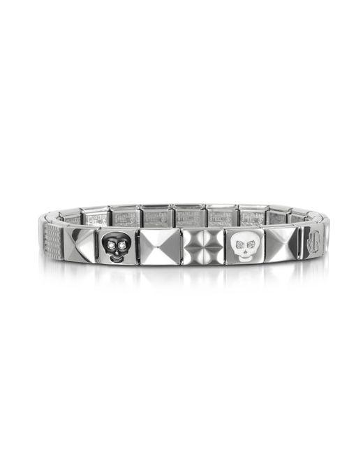 Nomination - Metallic Steel Ikons Black & White Skull Stainless Steel Bracelet W/cubic Zirconia for Men - Lyst