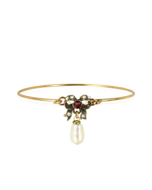 Alcozer & J | Metallic Happiness Goldtone Brass Bow And Glass Pearl Bangle | Lyst