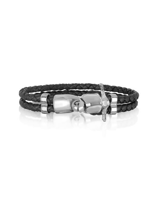 Forzieri - Metallic Vespa Stainless Steel And Leather Men's Bracelet for Men - Lyst