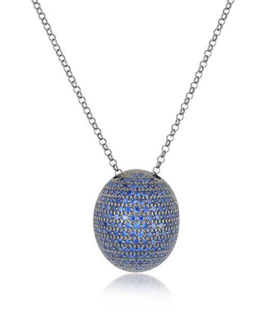 Azhar | Metallic Blue Cubic Zirconia Sterling Silver Pendant Necklace | Lyst