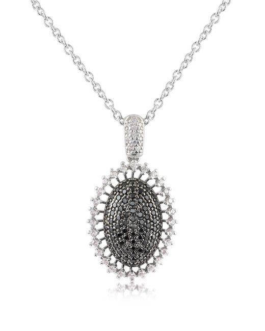 Azhar - White Black Cubic Zirconia And Sterling Silver Oval Pendant Necklace - Lyst