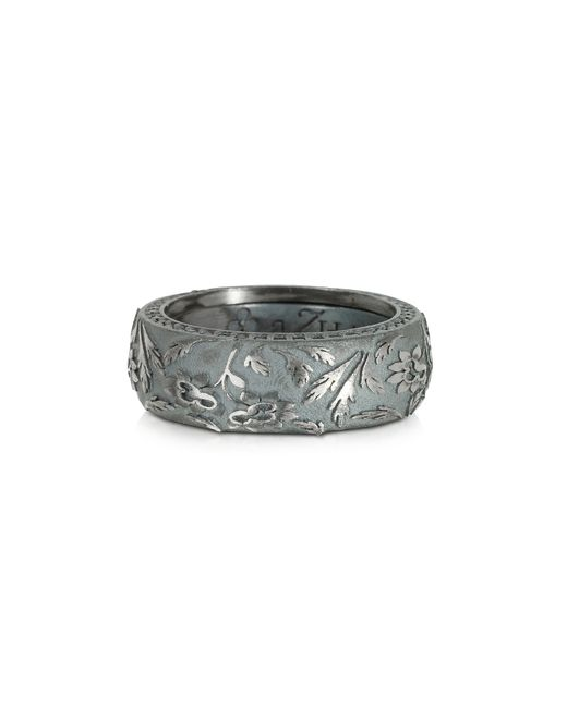Azhar | Gray Bassorilievo Silver And Zircon Men's Ring for Men | Lyst
