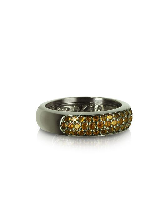 Azhar - Black Yellow Cubic Zirconia And Sterling Silver Ring - Lyst