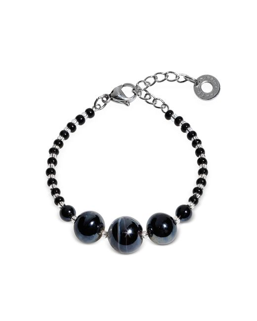 Antica Murrina | Metallic Optical 2 Rigido - Silver Stainless Steel Bracelet W/black Murano Glass Beads | Lyst