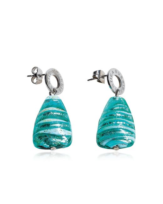 Antica Murrina | Blue Marina 2 - Turquoise Green Murano Glass And Silver Leaf Drop Earrings | Lyst